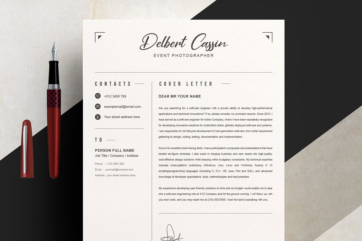 Two Page Clean Resume / CV Template in 2020 Cv template