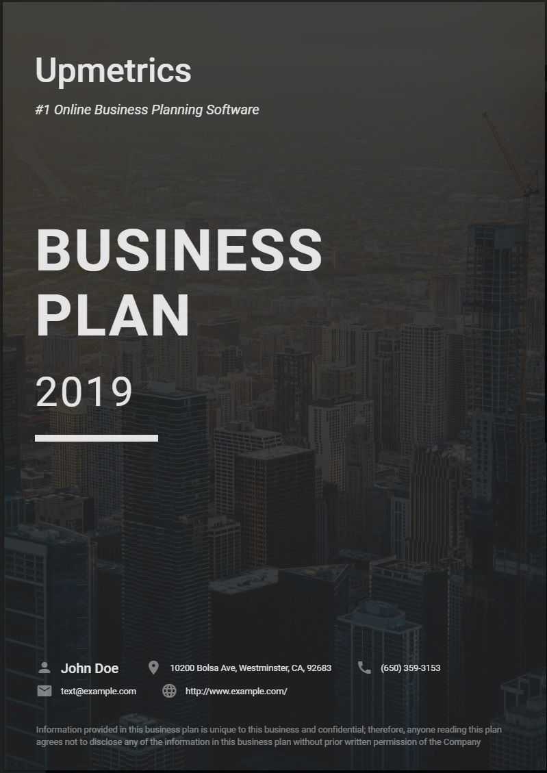 Business Plan Cover Page Business planning, How to plan
