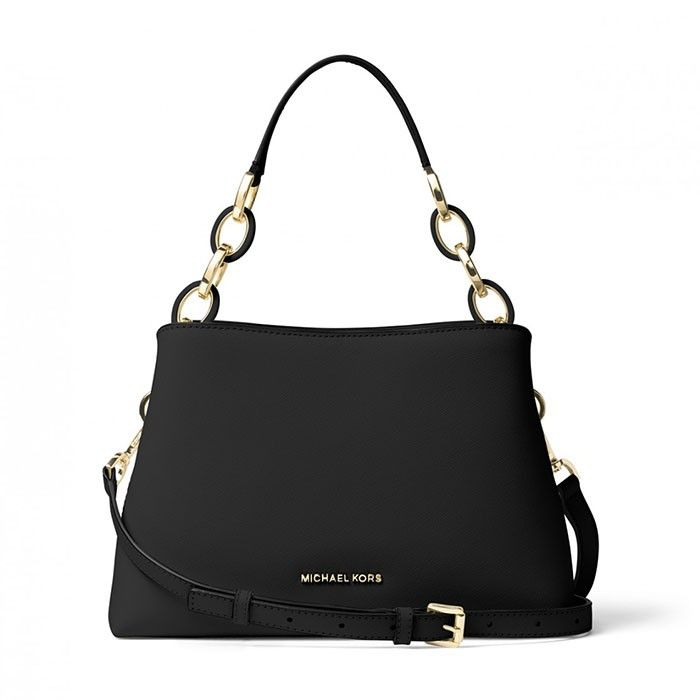 MICHAEL Michael Kors Portia Saffiano Leather Shoulder Bag Black