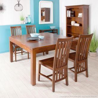 Table à manger carrée à rallonge en bois L140/190cm FREESIA Haveli Republic port offert