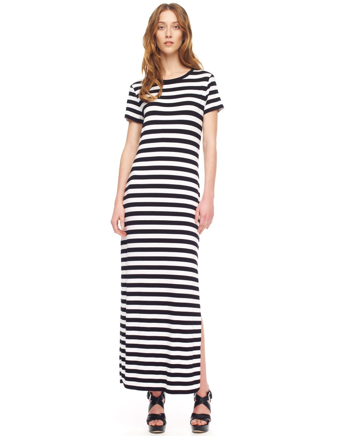 black-striped-maxi-dress- | Striped Maxi Dress | Pinterest ...