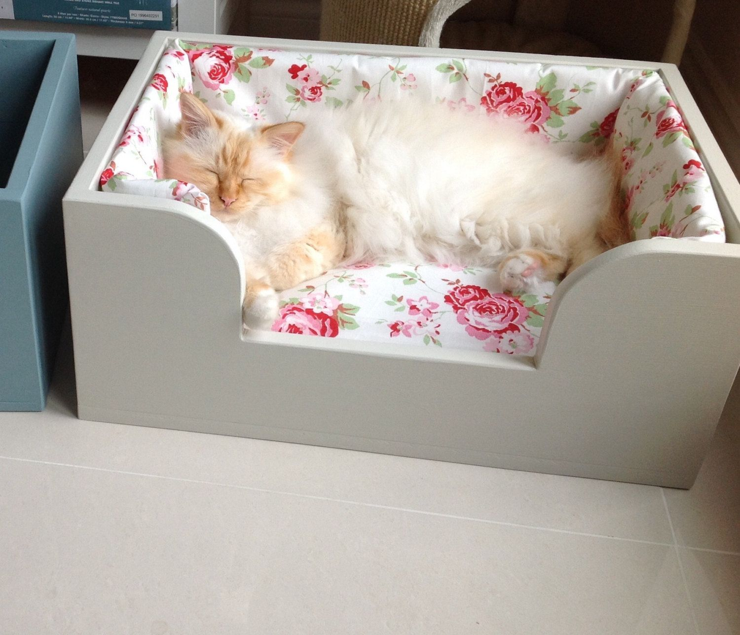 Hand made solid wood pet bed with Rosali cushion and bumper - pinned by pin4etsy.com