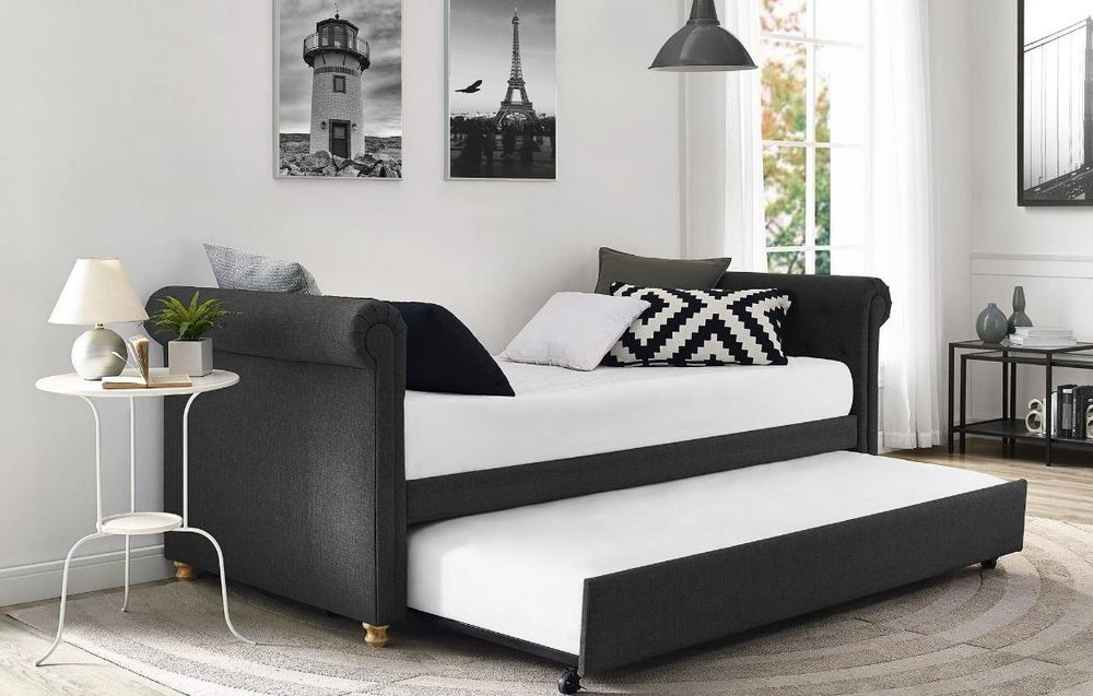 Daybed With Pop Up Trundle Adult Full Size Upholstered Living Room