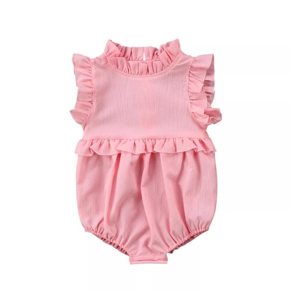 UK Newborn Kid Toddler Girl Ruffle Lace Romper Jumpsuit Outfit Bodysuit Playsuit