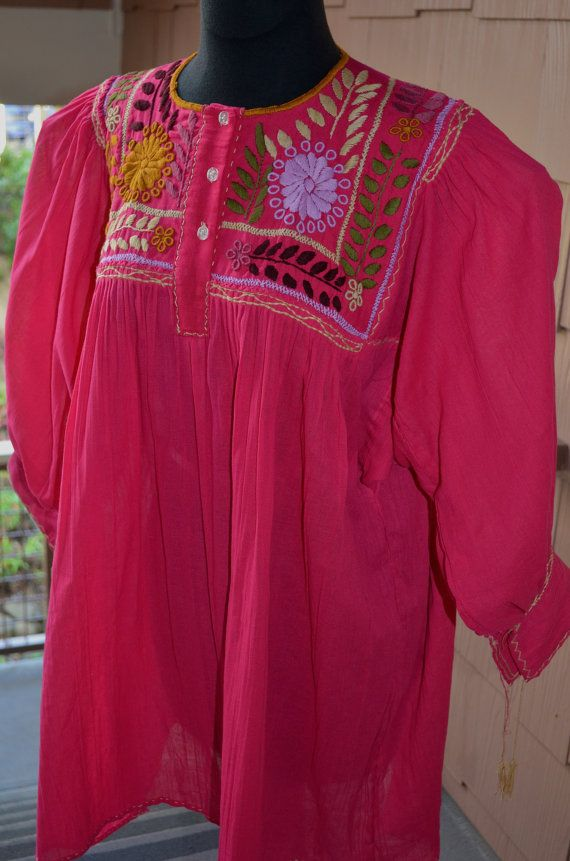 XL Gorgeous 100% Hand Made and Embroidered Fuchsia by Vtgantiques