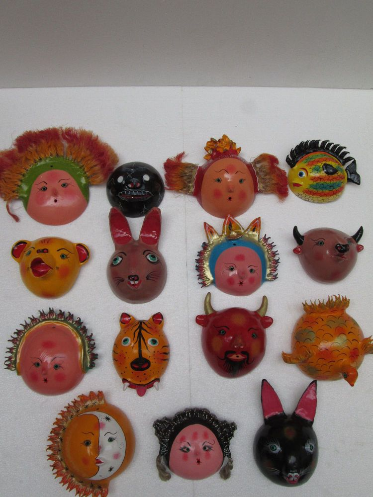 Details about SET of 10 MASKS & DOLL coconut shell mexican