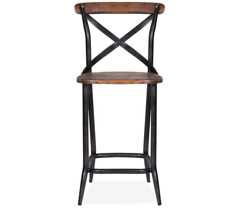 Rialto X Back Counter Stool Reclaimed Wood And Cast Iron Come