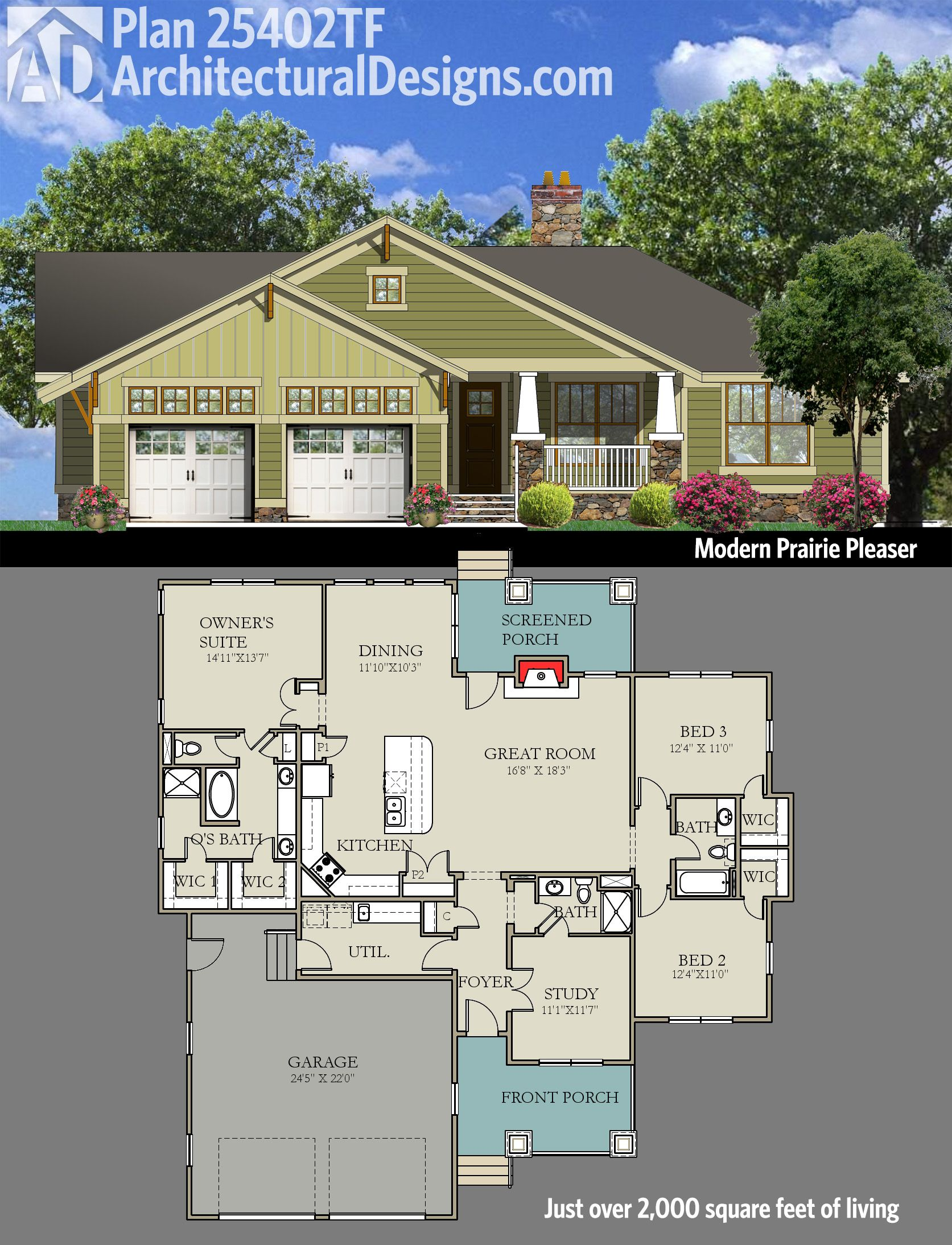 Get A Dose Of Prairie Style With Architectural Designs Bungalow House Plan 25402TF 3 Beds