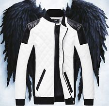For $0.02 is a Mens Fashion Slim Fit Motorcycle Leather Sleeves Jacket Coat Bomber White B