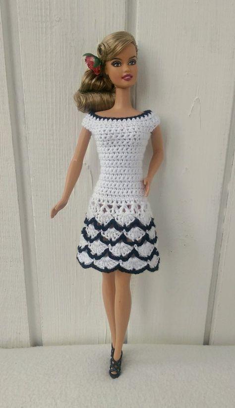 Dress Barbie Clothes Dollbambole Crochet For Yv6ybf7g