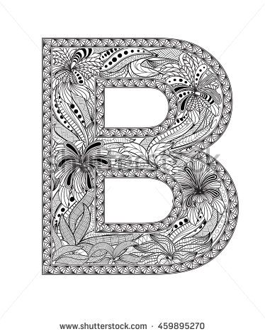 Zentangle stylized alphabet. Letter B in doodle style. Hand drawn sketch font