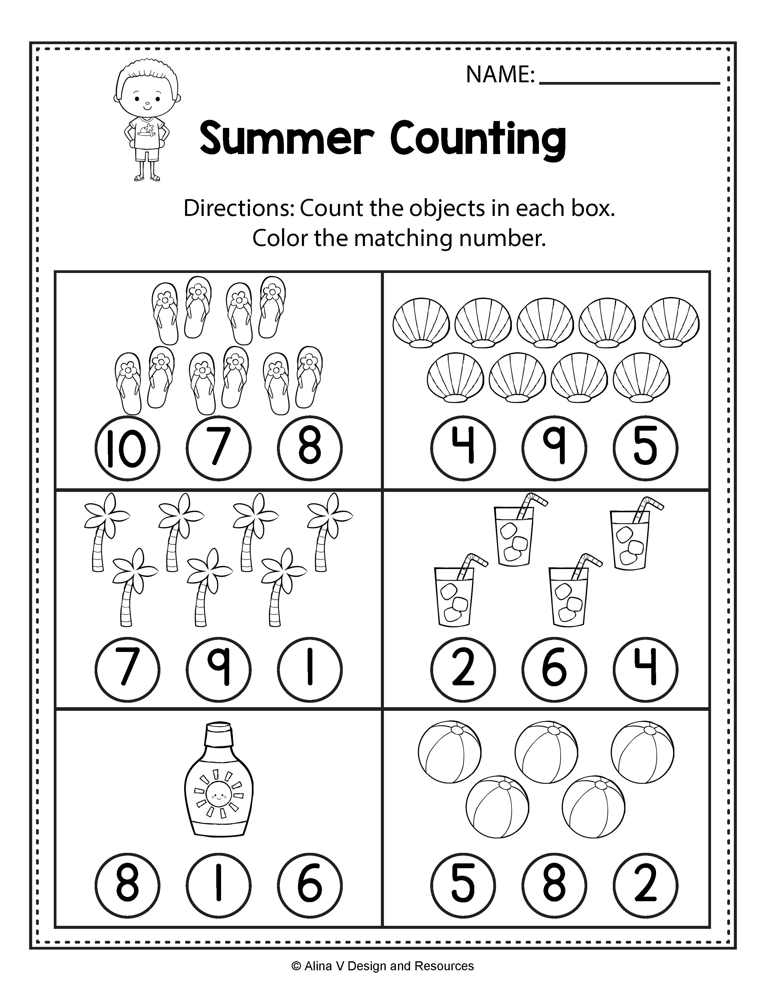 Counting Worksheets - Summer Math Worksheets and activities for preschool [ 3300 x 2550 Pixel ]