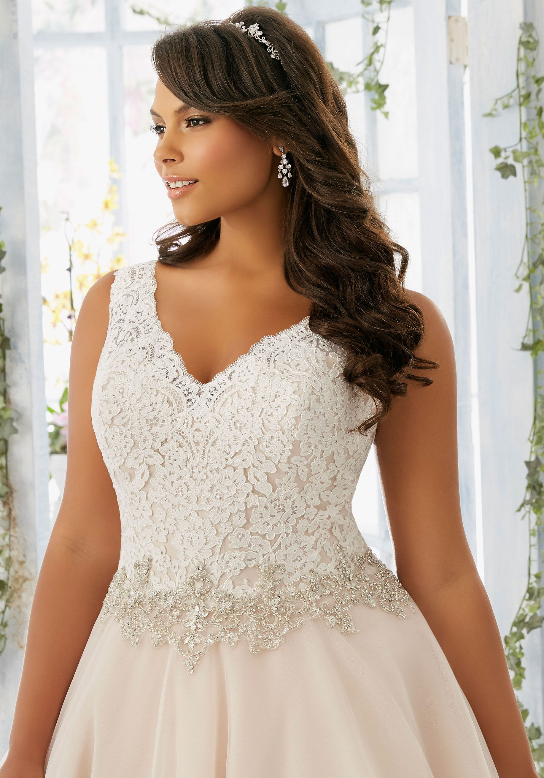 a35c90e08ee Mori Lee Bridal Embroidered Lace Bodice Edged with Beading onTulle Wedding  Dress