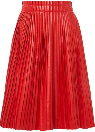 54c2de3ab0 we11done - Pleated Faux Leather Skirt - Red | LET'S DO BUSSINESS ...