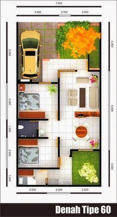 Denah Rumah Minimalis Type 60 | Denah rumah, Rumah ...