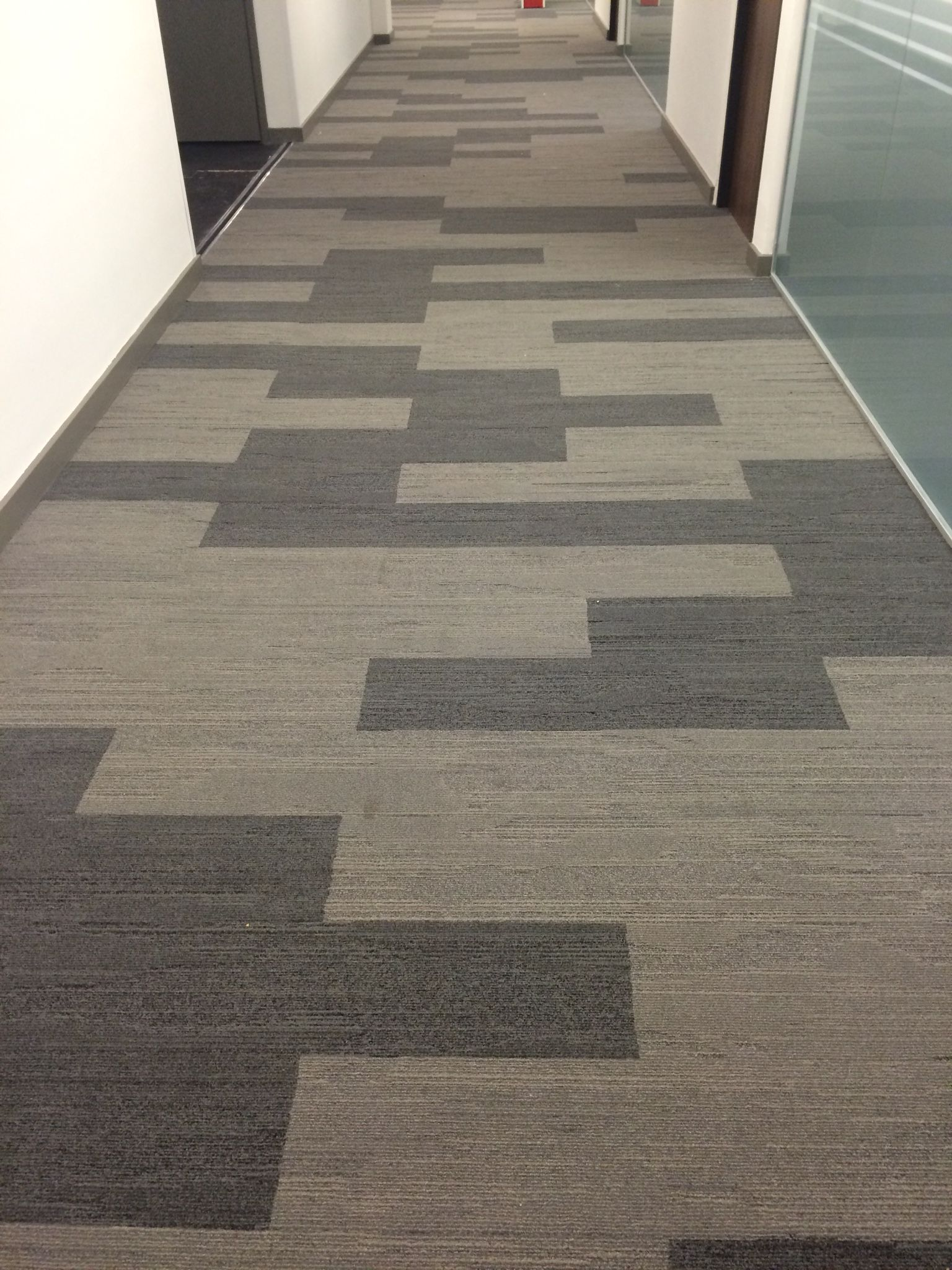 Urban Retreat Carpet Tile Planks Installed Into Corridor