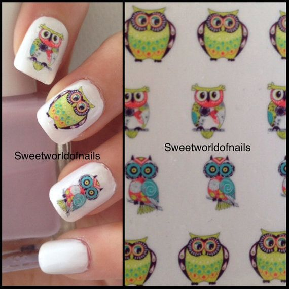 Cute Owls Nail Art Water. Transfers on Etsy. Owl Nails!❤ | Owl ...