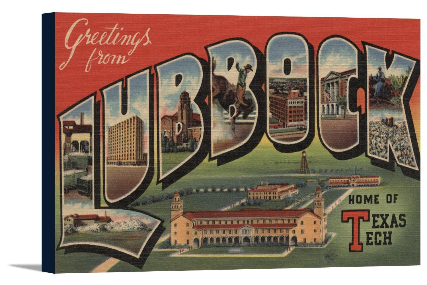 Canvas lubbock texas greetings from texas tech vintage canvas lubbock texas greetings from texas tech vintage travel poster kristyandbryce Choice Image