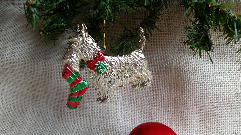 scottish terrier ornament vintage christmas gold metal scottie dog hanging ornament scottish terrier decor dog christmas - Scottie Dog Christmas Decorations