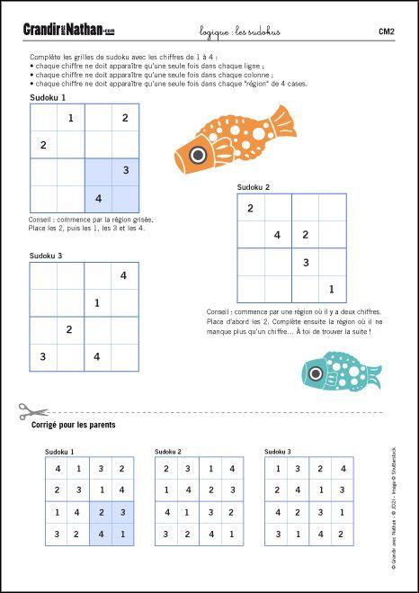 Logique cm2 les sudokus kids games pinterest for A portee de maths cm2