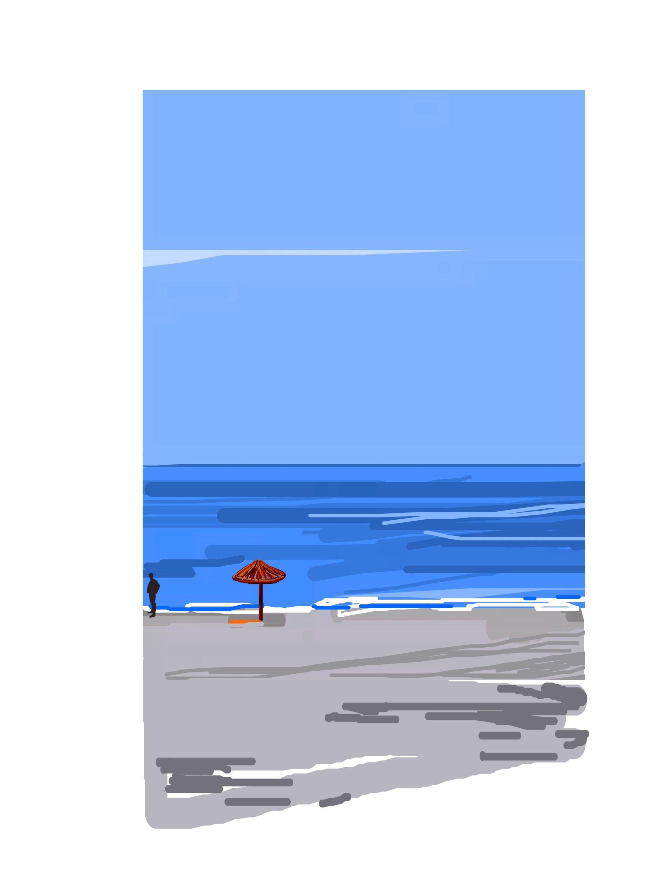 'Playa solitaria', una obra de Colin Bertholet que se incluye en su colección 'Índigo' y se puede adquirir en la tienda online http://colingarabatosdigitales.com/ #DigitalArt #iPad #GarabatosDigitales