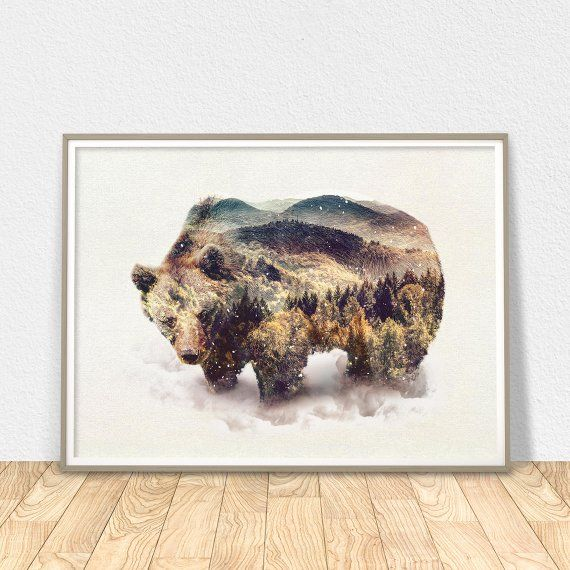 D Grizzly Bear Art Print Home Decor Wall Art Poster