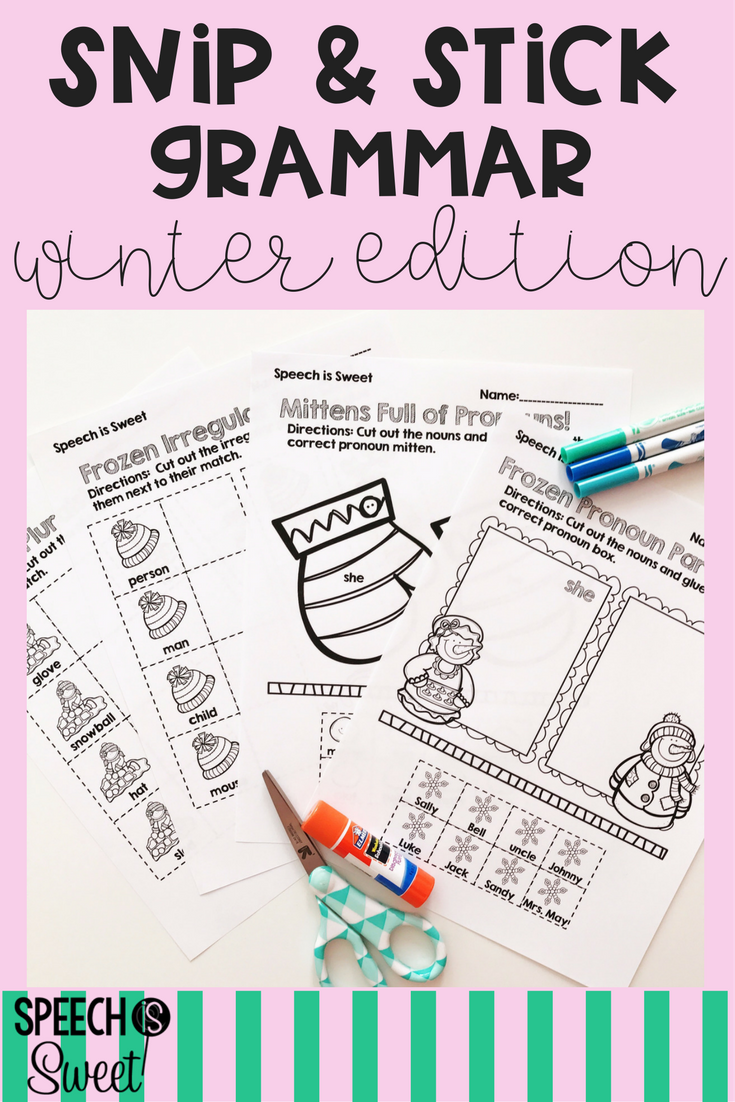 Winter Grammar Snip And Stick Irregular Plurals Subject Verb