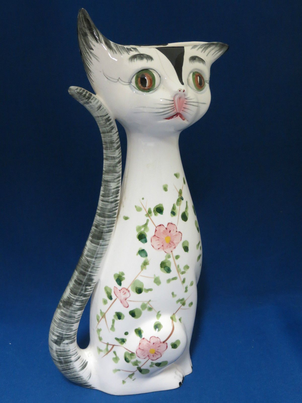 Tall cat shaped vase vintage 1950s hand painted flowers kitty tall cat shaped vase vintage 1950s hand painted flowers kitty hairline crack ebay reviewsmspy
