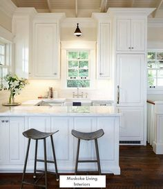 A Muskoka Lake House And Boat House For Guests Small Cottage Kitchen Small White Kitchens Cottage Kitchens
