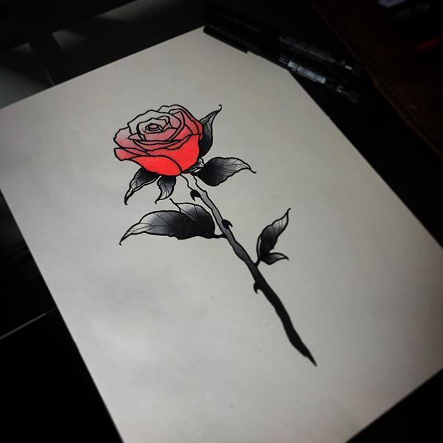 Simple Rose Tattoo Art Flash Tattoos Ink Tat Linework Dotwork Neotraditional Flash Tattoo Designs Simple Rose Tattoo Traditional Tattoo Flash Art