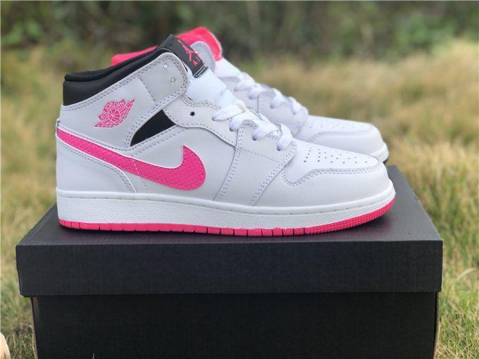 buy popular a8316 99460 2019 Air Jordan 1 Mid Hyper Pink White Black For Girls-6