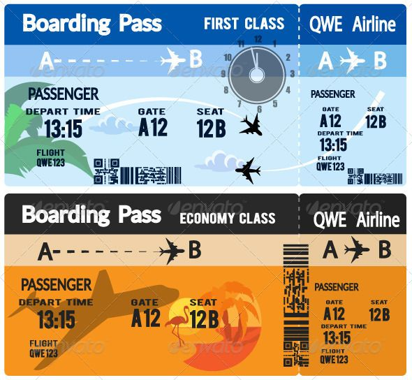 Airline Boarding Pass Tickets Trips, Tourism and Ticket - design tickets template