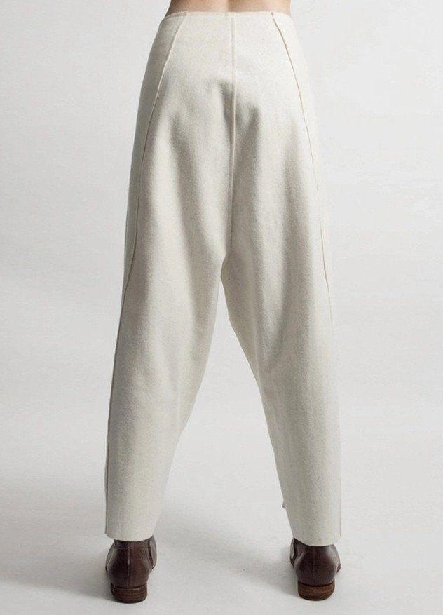 8f758a8331507 Futurictic Original Ofelya Ladies Woolen Trousers / Casual Drop Crotch  Harem Pants - Big Carrot Pants Hanging Crotch Pants Collapse
