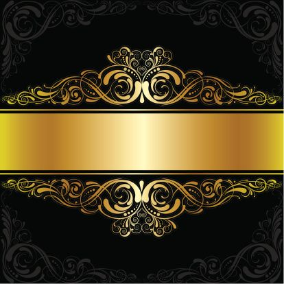 Golden black label design vector art illustration