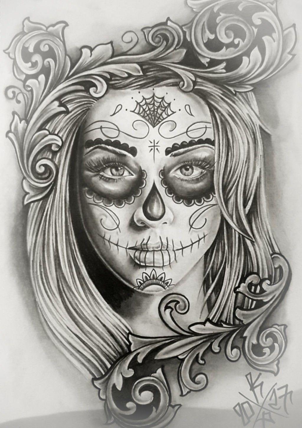 Pin Sarah Frehlich Art Skull Girl Tattoo