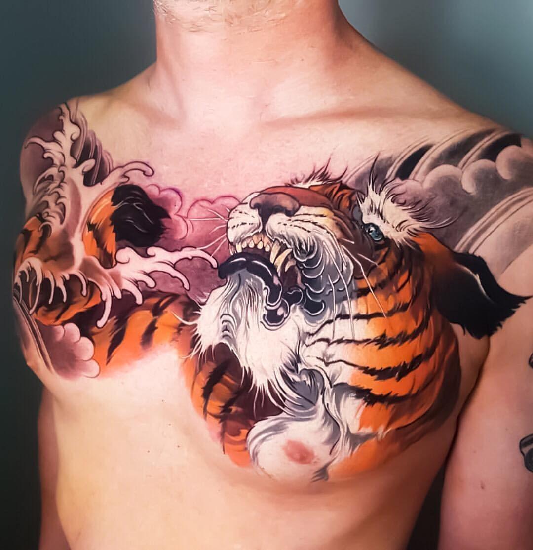 Japanese Chest Tattoo By Nicknoonantattoo Japaneseink Japanesetattoo Irezumi Tebori Colortattoo Japanese Tiger Tattoo Tiger Tattoo Tiger Tattoo Design