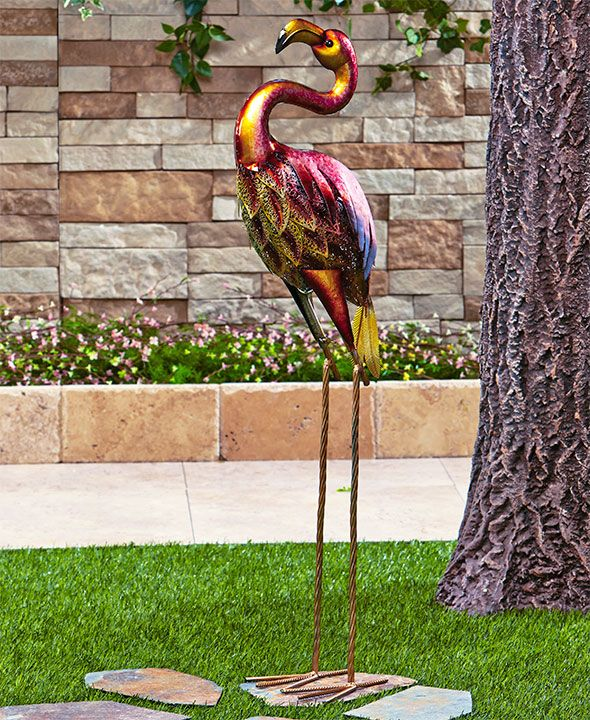 Colorful Metallic Bird Decor Flamingo Garden Ornament Flamingo Garden Garden Ornaments