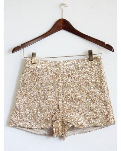 High Waist Gold Sequin Shorts | Gold sequin shorts, Sequin shorts ...