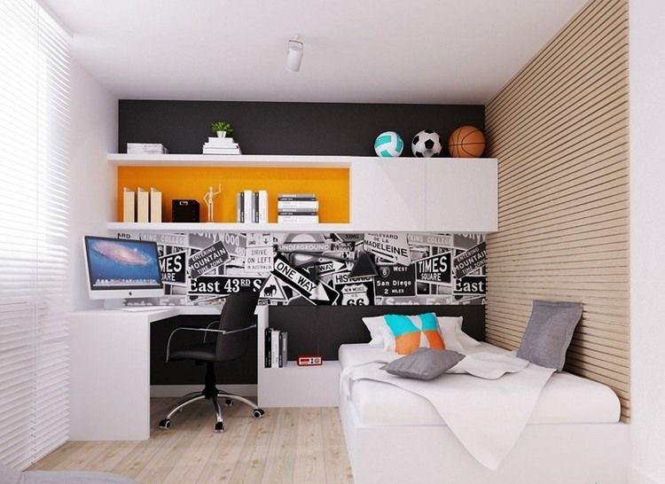 Jungen Zimmer schwarze akzentwand und weiße möbel im jungenzimmer kinderzimmer