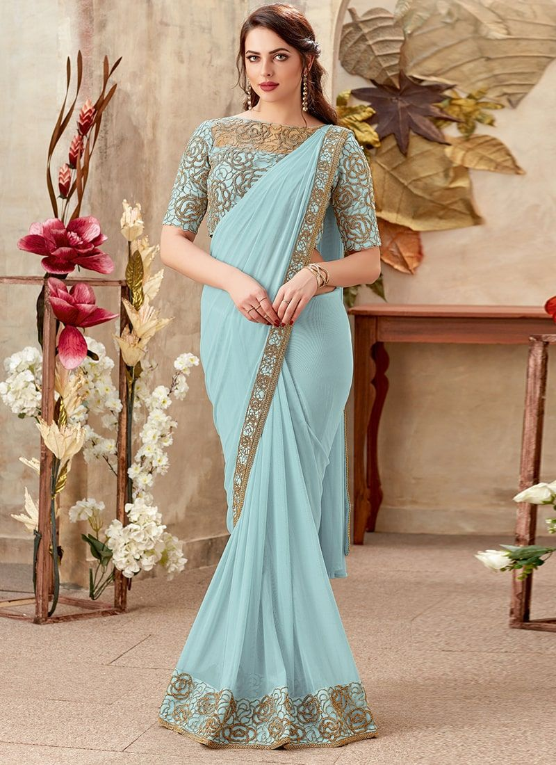 97f87767903b23 Embroidered Fancy Fabric Sky Blue Wedding Saree