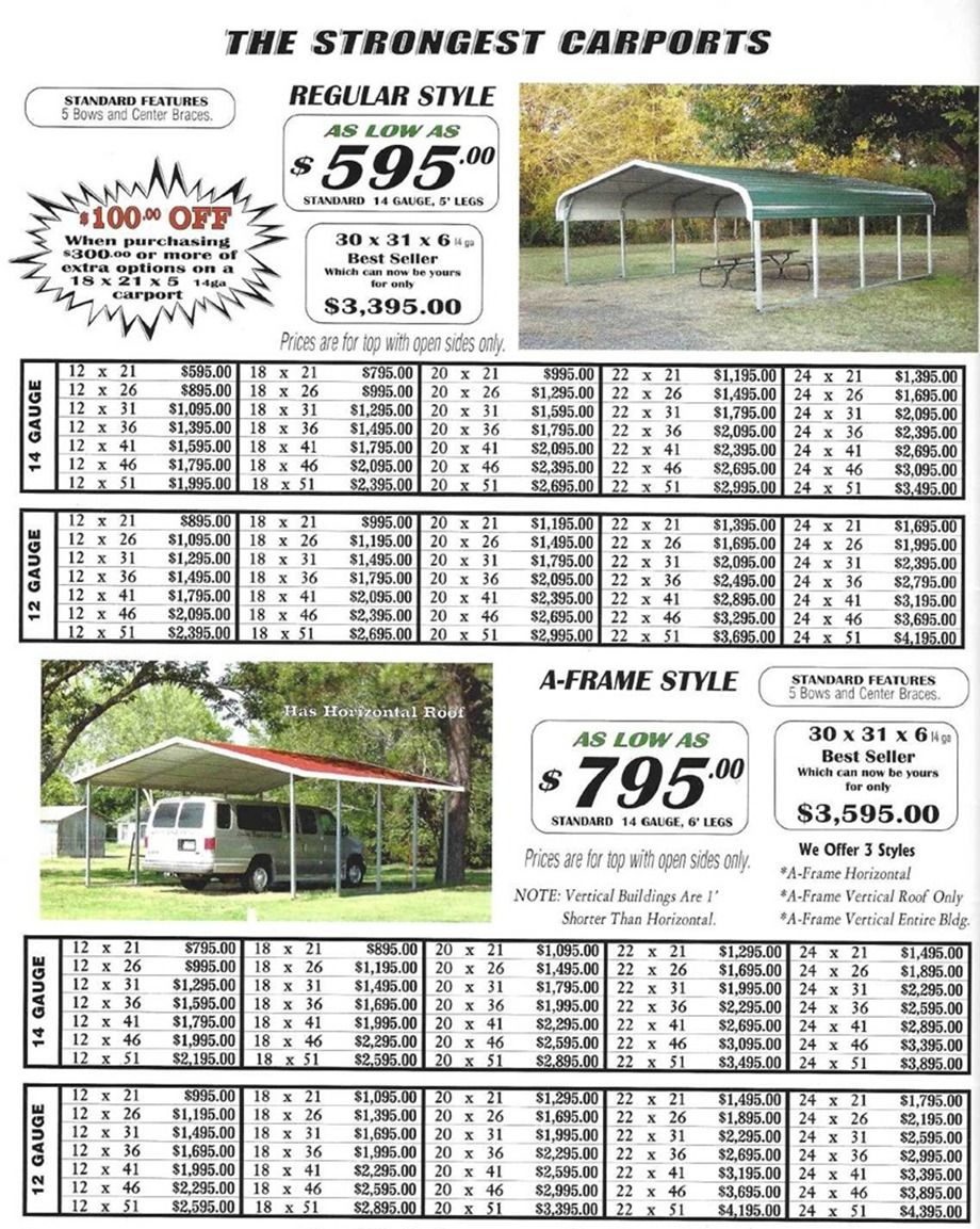 Lafayette Portable Buildings Carport And Rv Cover Price List Portable Carport Carport Portable Buildings