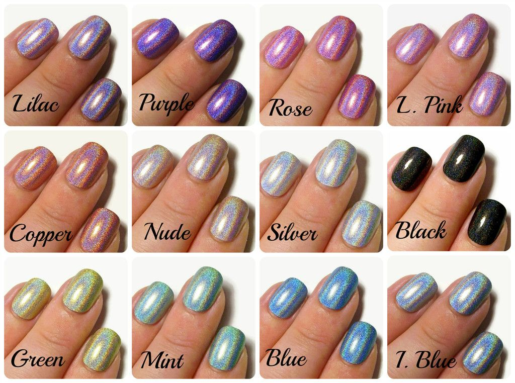 24 Extra Small Holographic Fake Nails - Instant Press On False Nails ...