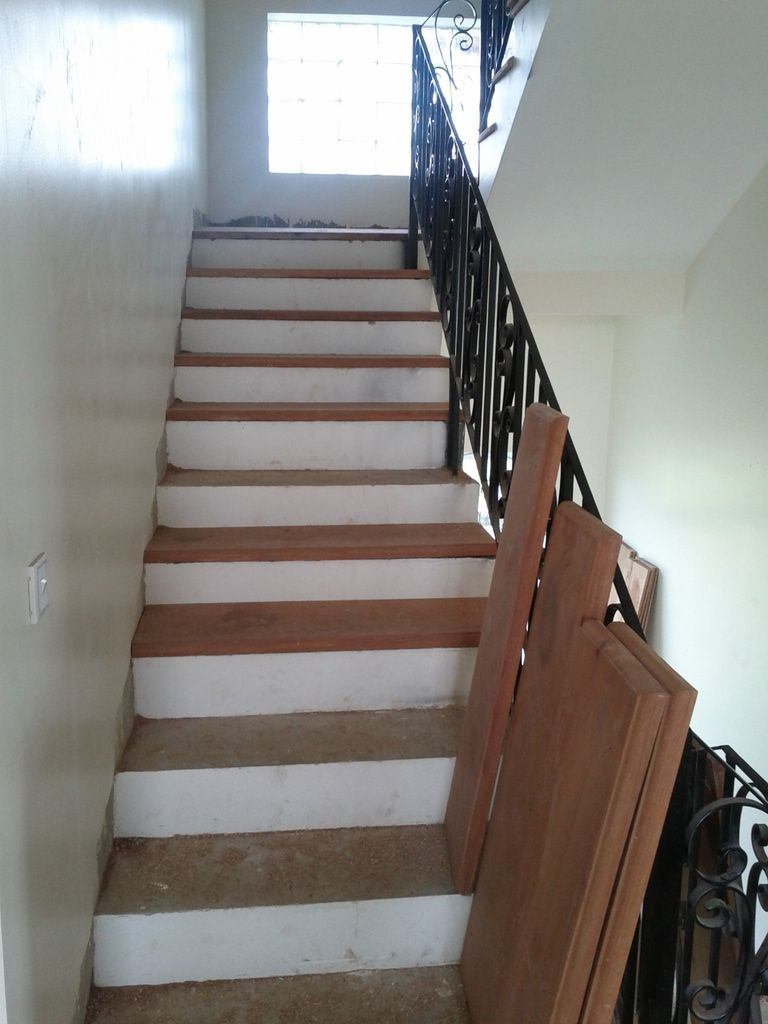 Adding Wood Treads To Existing Concrete Stairs Indoor Teakdoor Com The Thailand Forum Stair Makeover Diy Stairs Concrete Stairs