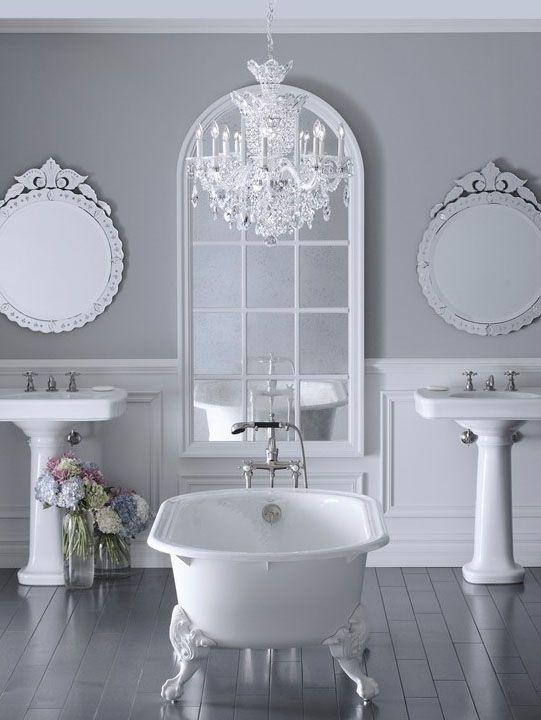 bathroom chandeliers ideas. Grey Bathroom  luv the chandelier idea BATHROOMS Pinterest