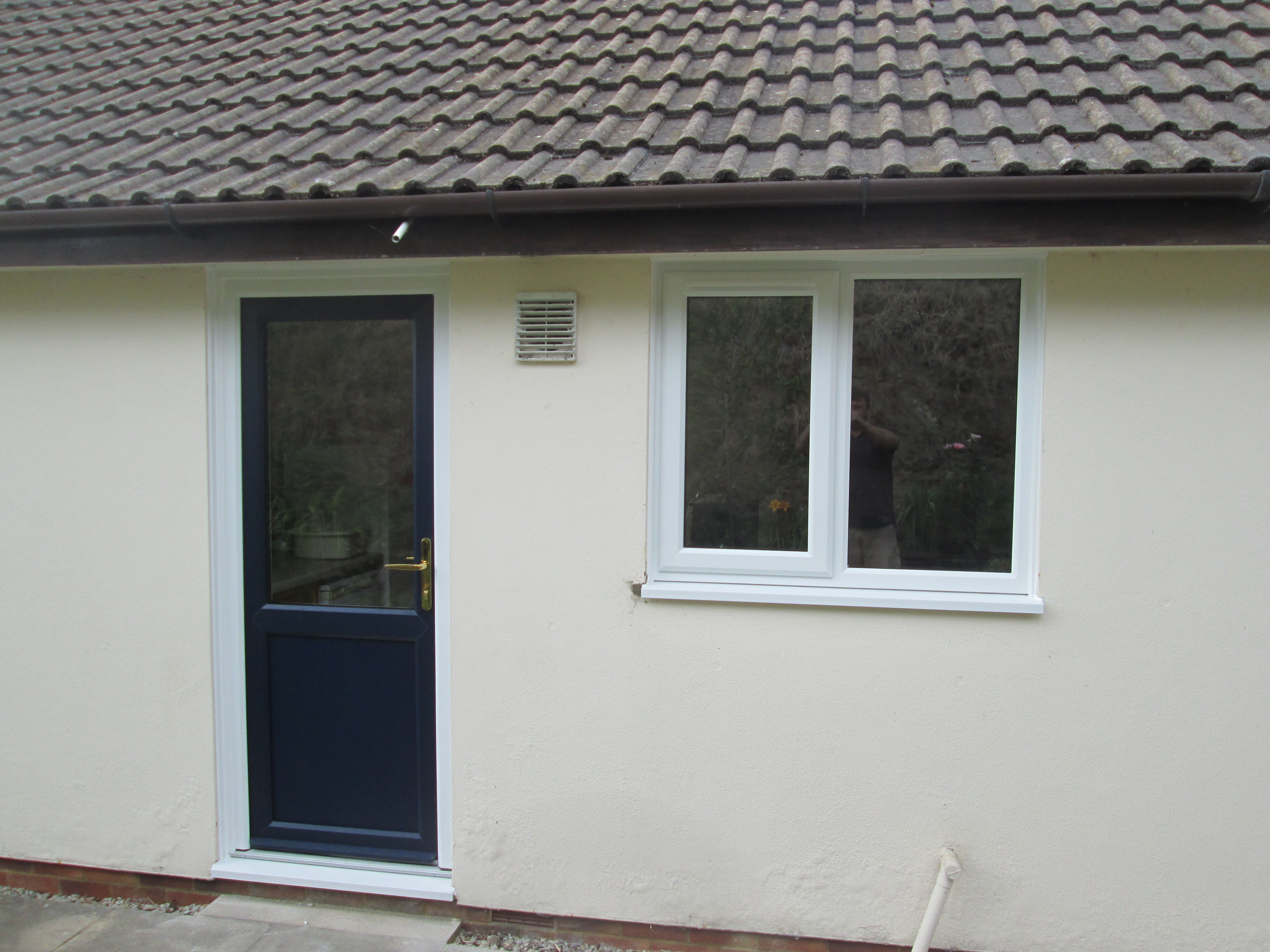Launa Windows - Newton Abbot Back Door - Blue on White with white ...