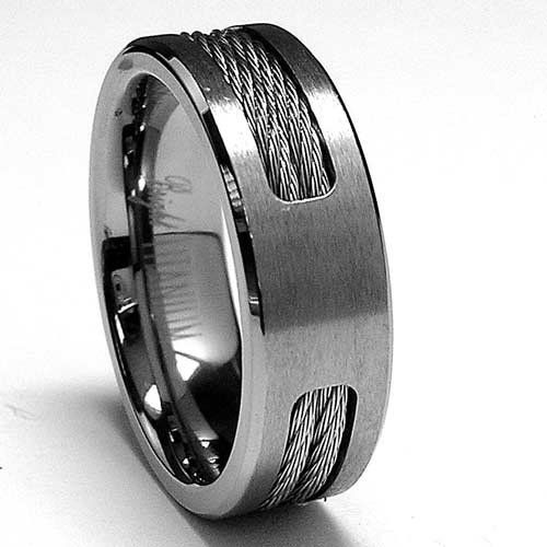 7 Mm Anium Ring Wedding Band With Stainless Steel Cable Inlay Sizes To 12