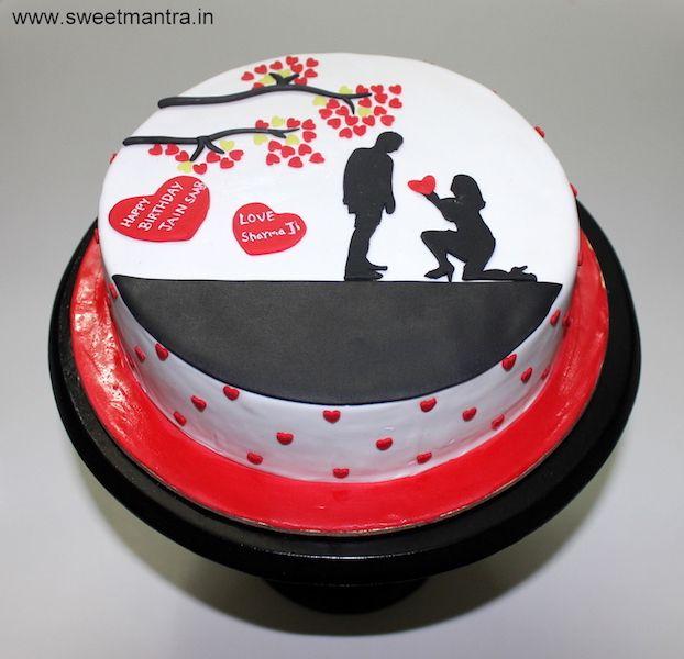 Valentine Anniversary Love Theme Small Customized Designer Cake