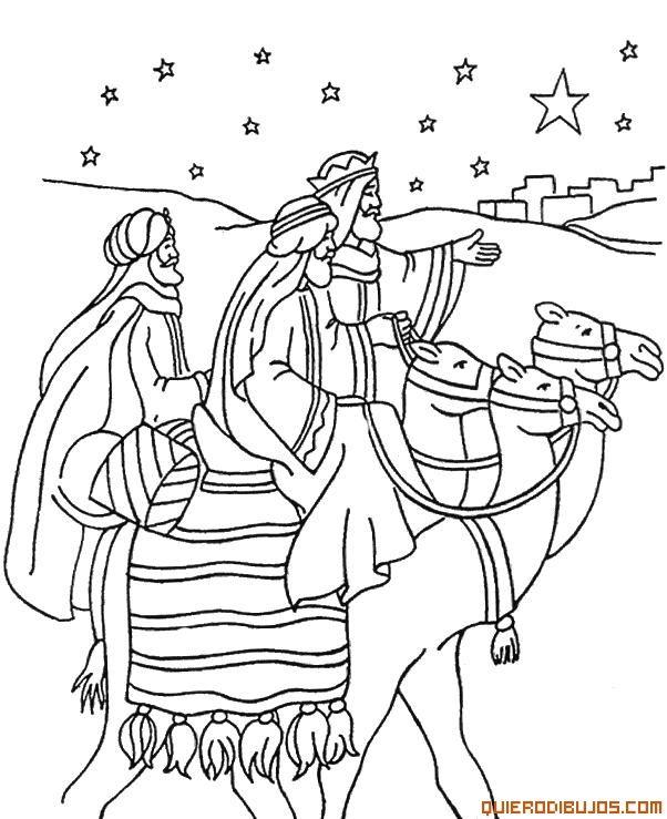 dibujos para colorear de navidad de los reyes magos montados en sus ...