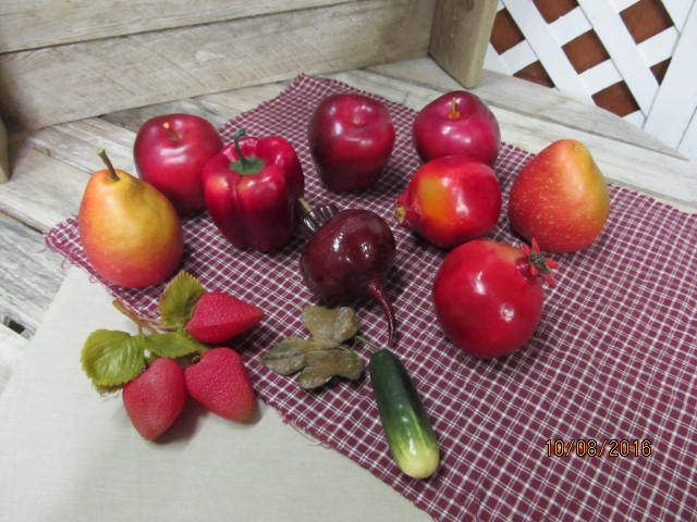 Vintage Realistic Artificial Heavy Resin or plastic Stage Prop Fake Food Replica Lot of 11 Fruits Vegetables Red Apples Pickle by EvenTheKitchenSinkOH on Etsy