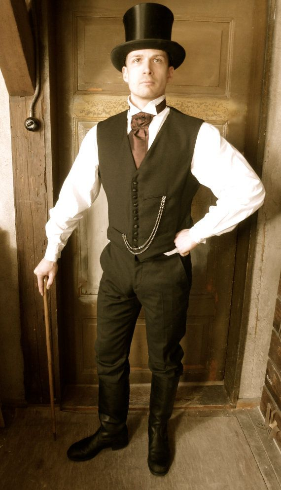 Tailor Made Black Victorian Waist Coat Vintage Inspired Gatsby Victorian Mens Clothing Fancy Dress Halloween Costumes Victorian Mens Fashion